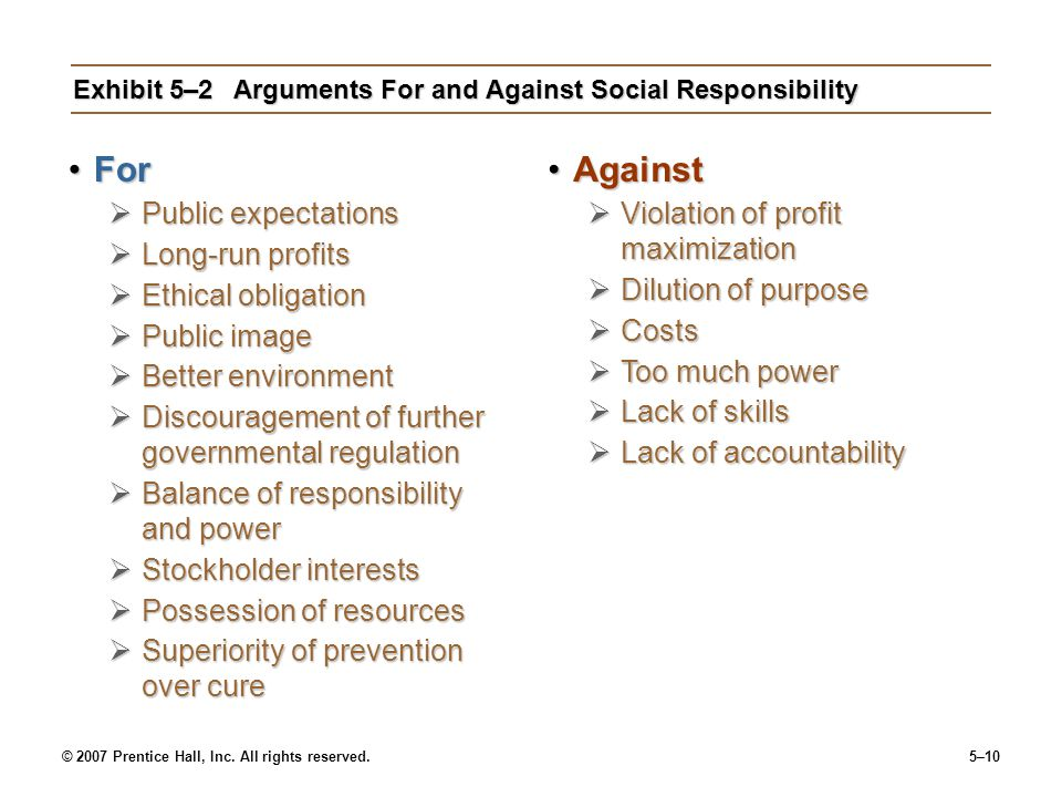 Exhibit 5–2 Arguments For and Against Social Responsibility