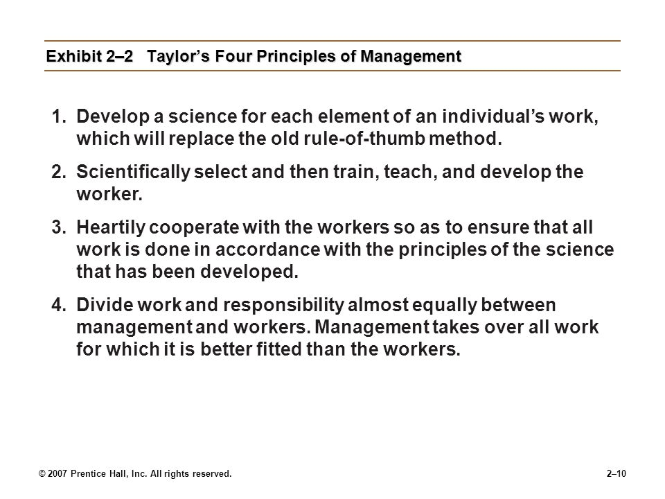 Exhibit 2–2 Taylor's Four Principles of Management