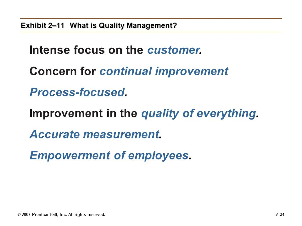 Exhibit 2–11 What is Quality Management