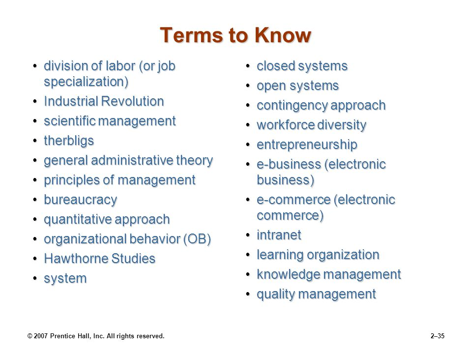 Terms to Know division of labor (or job specialization)
