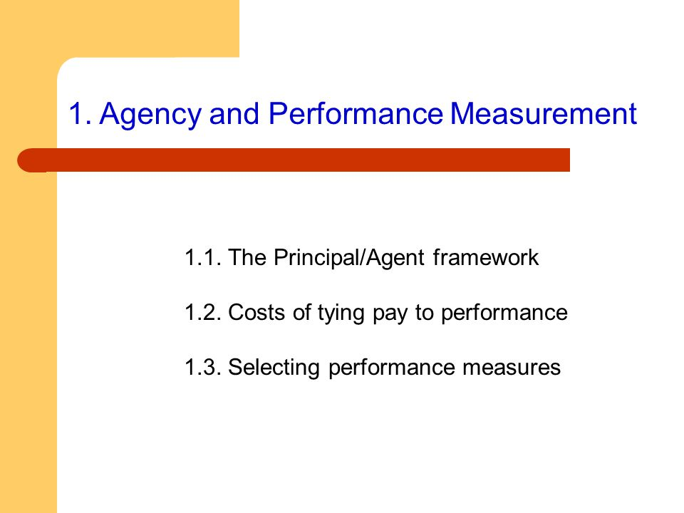1. Agency and Performance Measurement