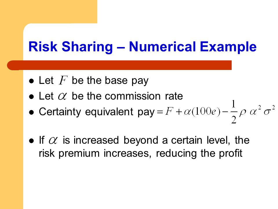 Risk Sharing – Numerical Example