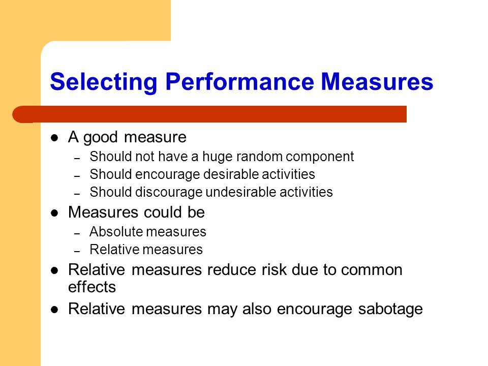 Selecting Performance Measures