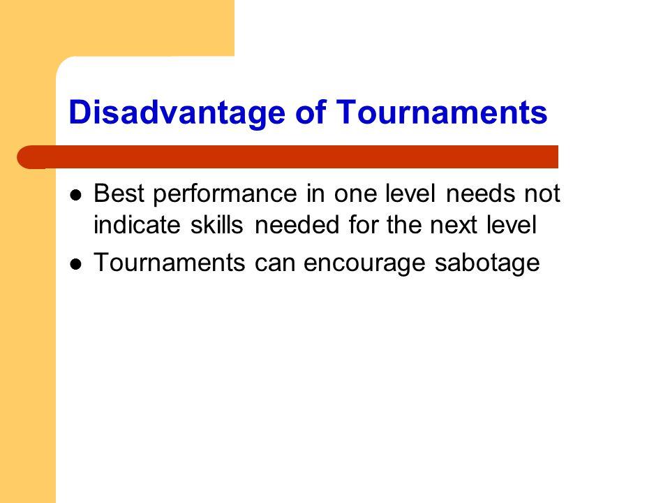 Disadvantage of Tournaments