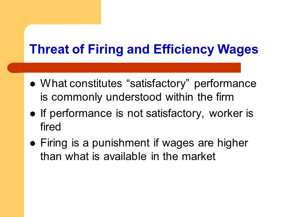 Threat of Firing and Efficiency Wages