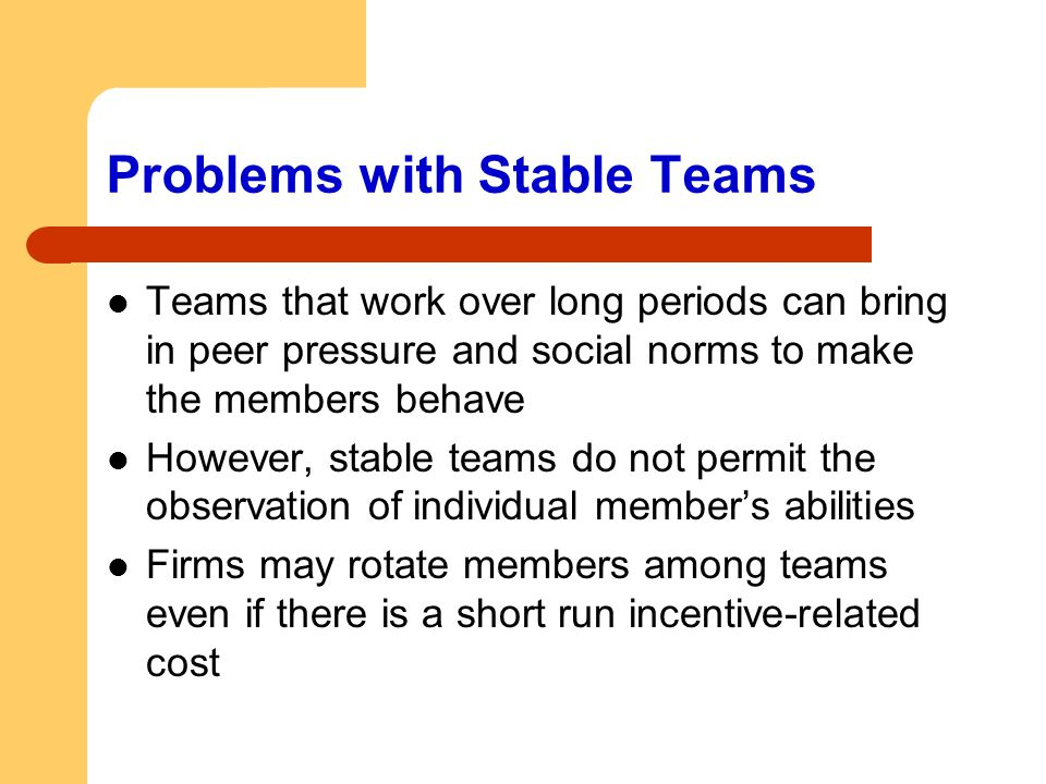 Problems with Stable Teams