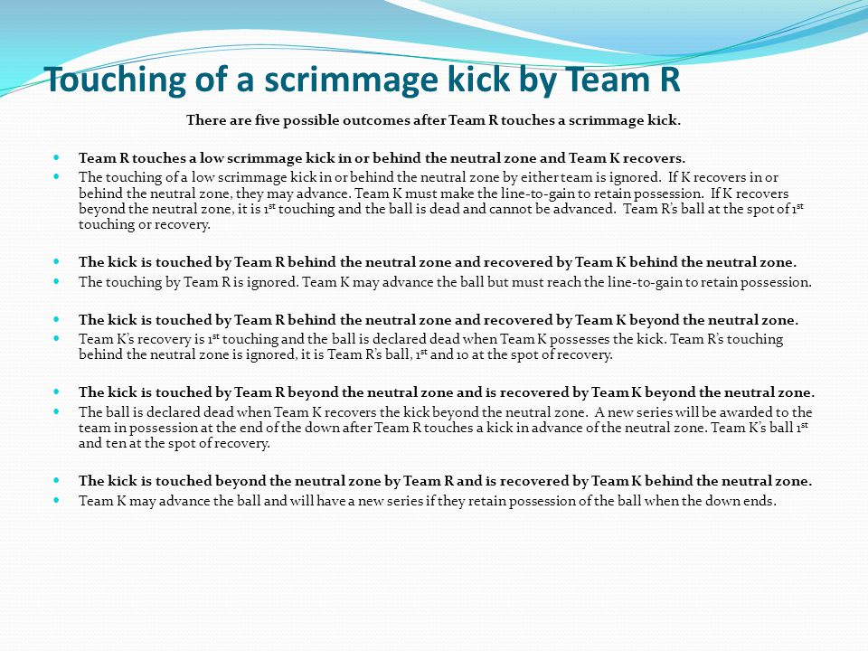 Touching of a scrimmage kick by Team R