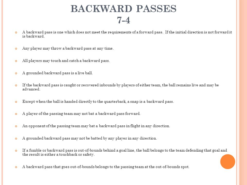 BACKWARD PASSES 7-4