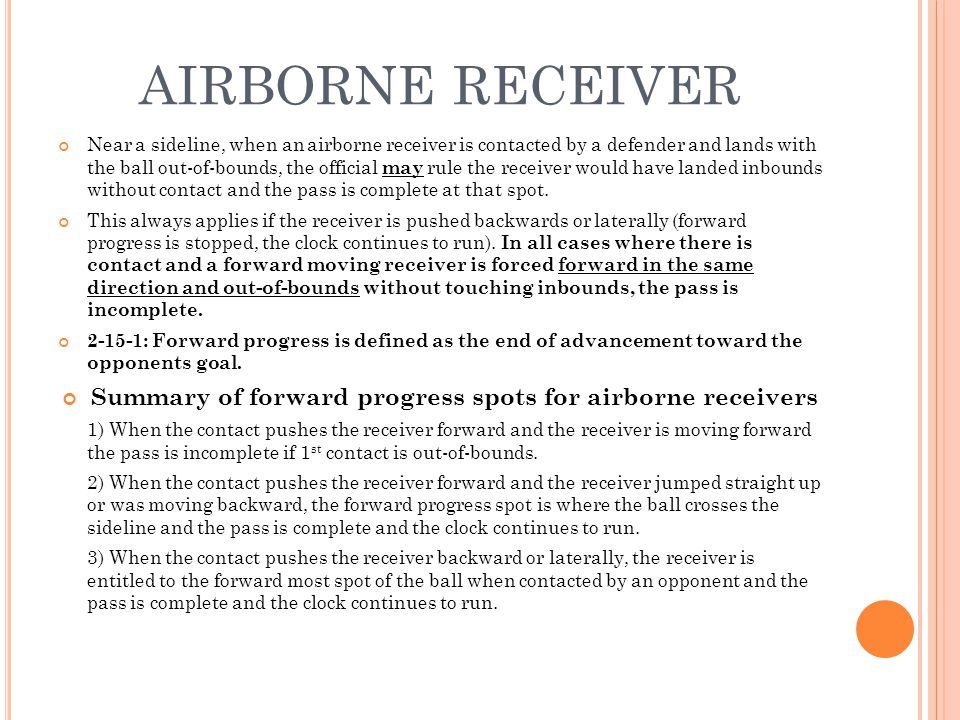Summary of forward progress spots for airborne receivers