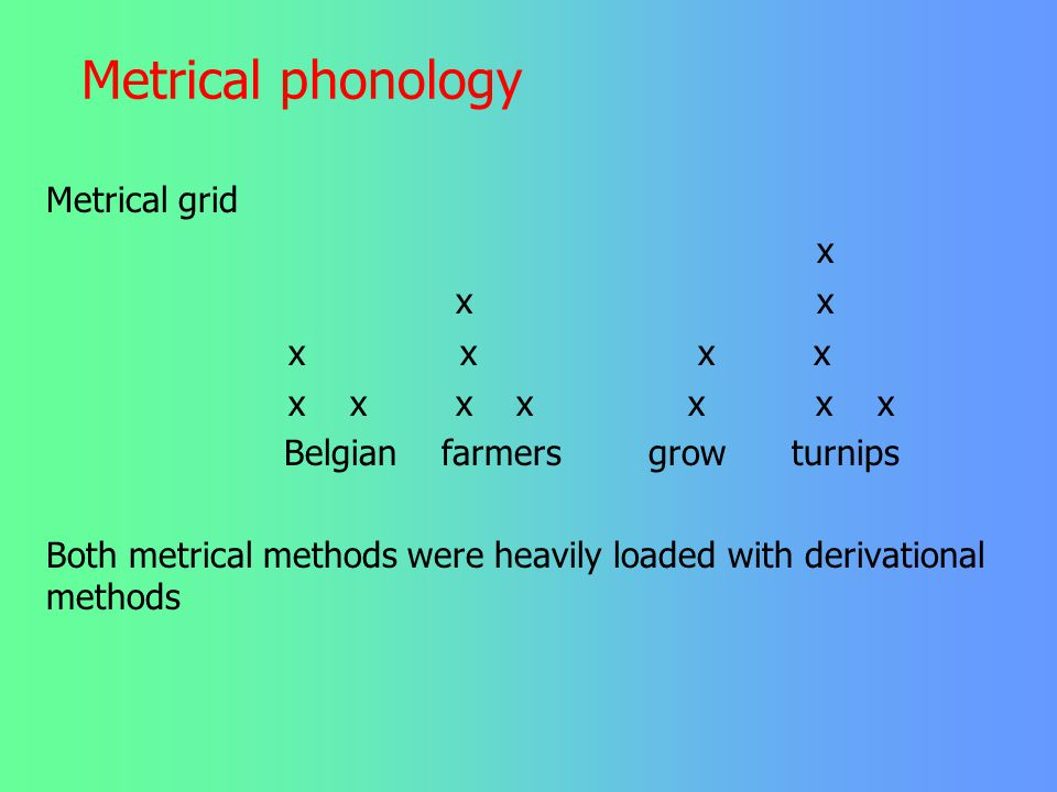 Metrical phonology Metrical grid x x x x x x x x x x x x x x