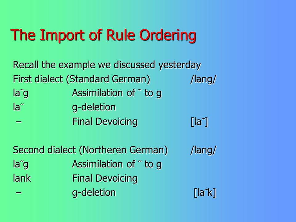 The Import of Rule Ordering