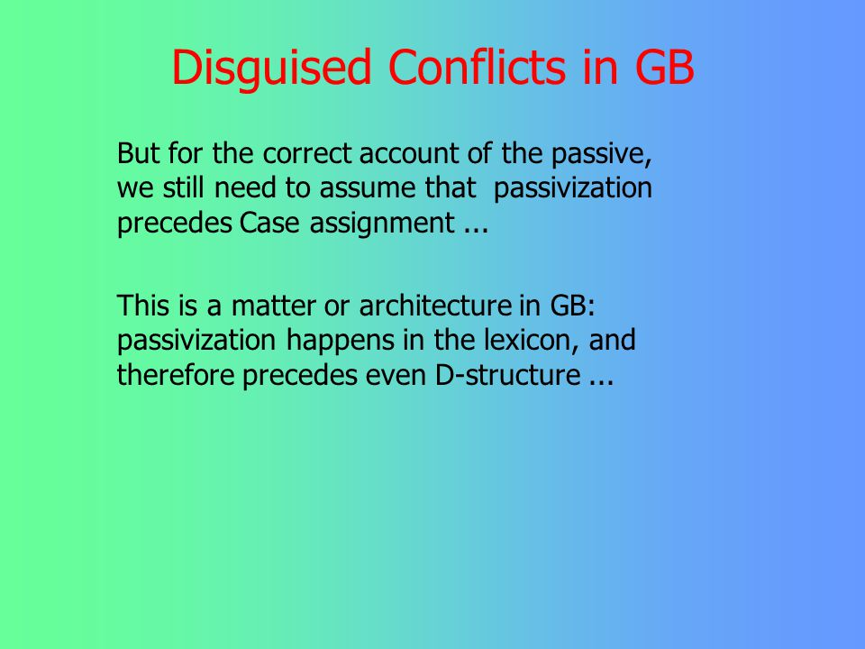 Disguised Conflicts in GB