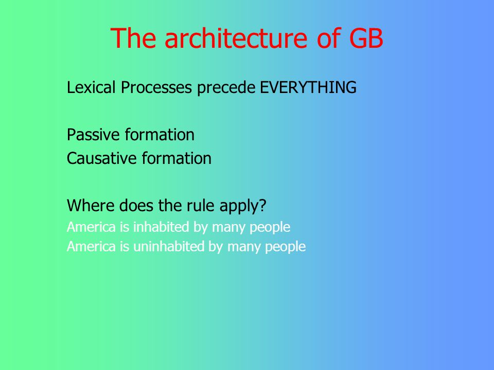 The architecture of GB Lexical Processes precede EVERYTHING