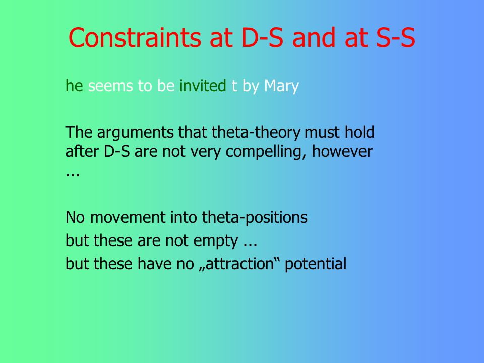 Constraints at D-S and at S-S