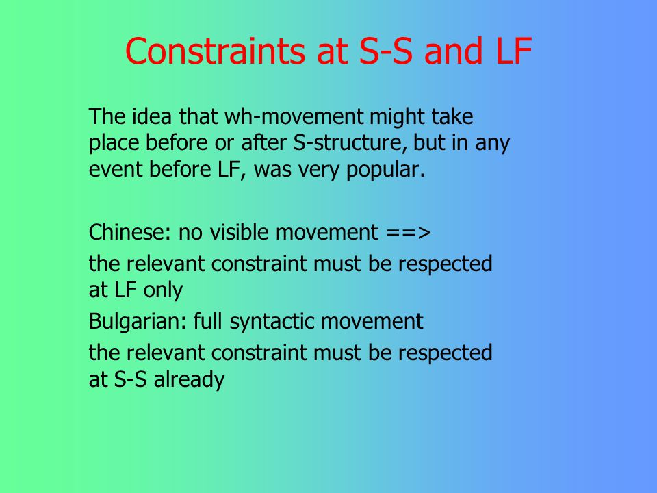 Constraints at S-S and LF