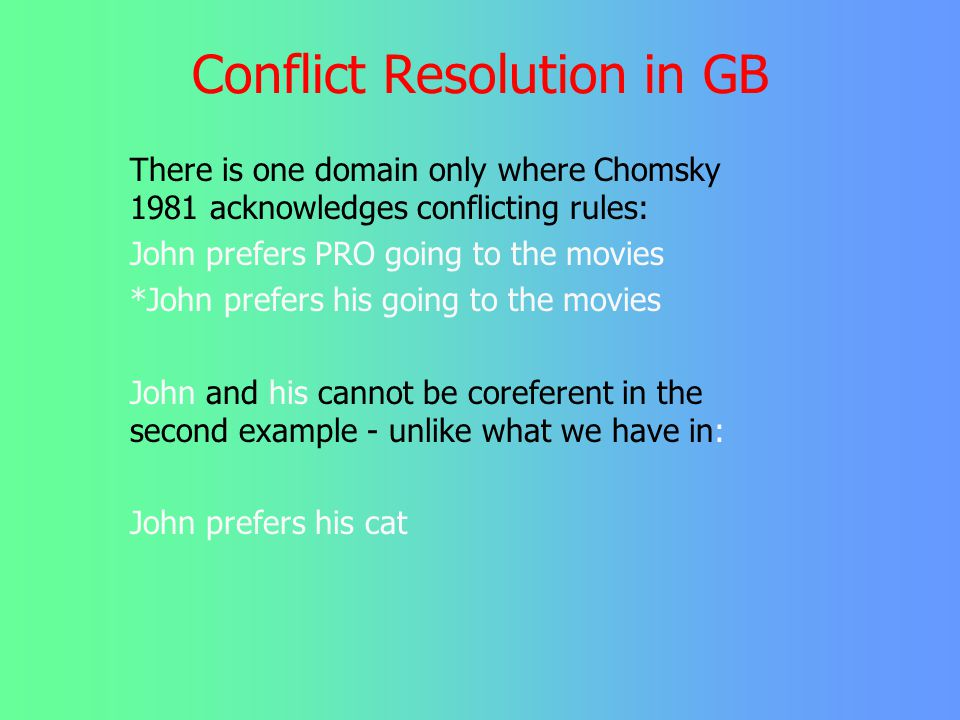 Conflict Resolution in GB