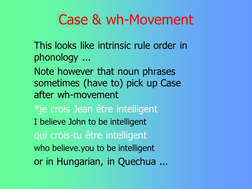 Case & wh-Movement This looks like intrinsic rule order in phonology ...