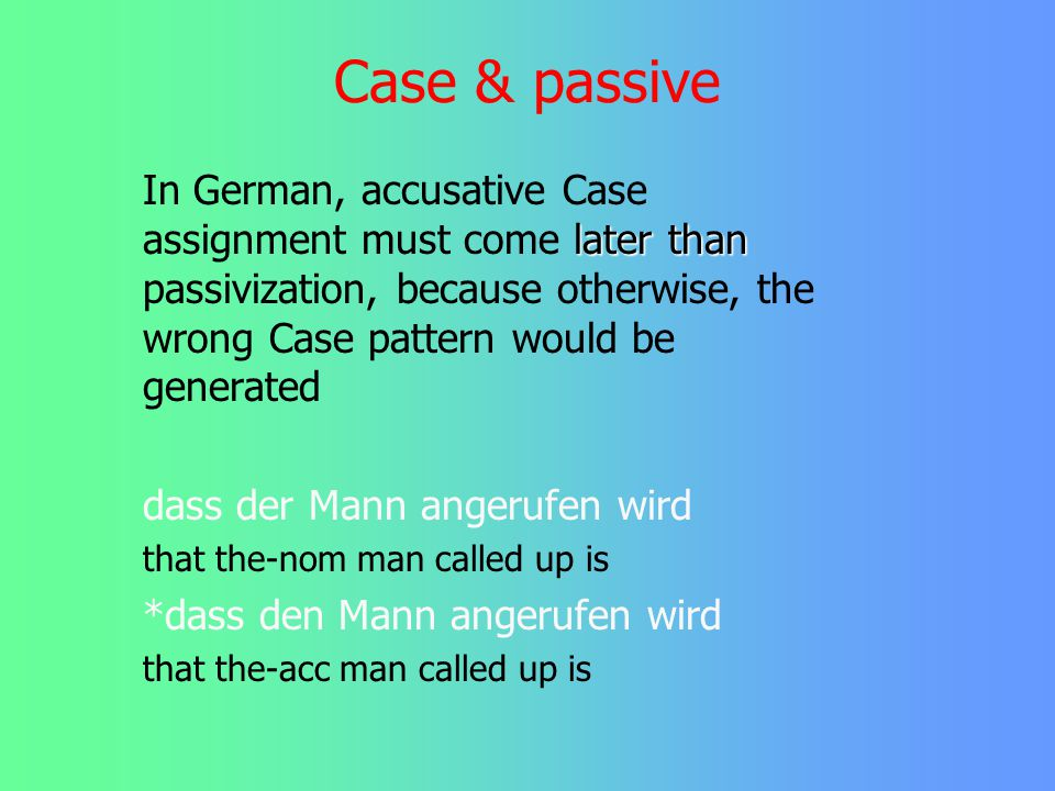 Case & passive In German, accusative Case assignment must come later than passivization, because otherwise, the wrong Case pattern would be generated.