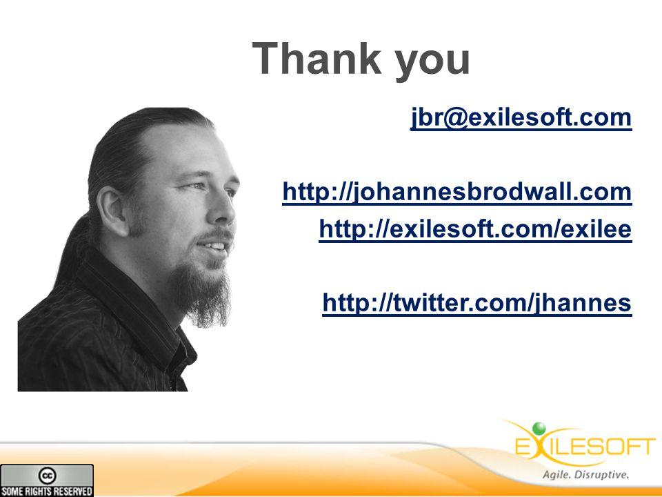 Thank you jbr@exilesoft.com http://johannesbrodwall.com http://exilesoft.com/exilee http://twitter.com/jhannes