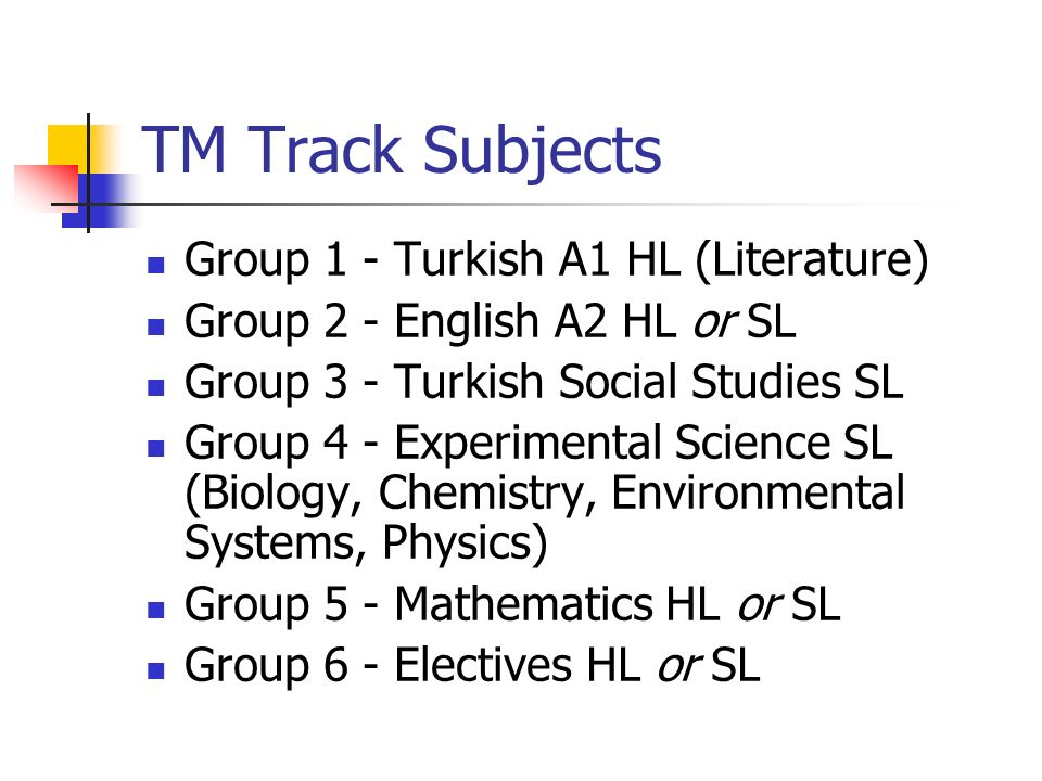 TM Track Subjects Group 1 - Turkish A1 HL (Literature)