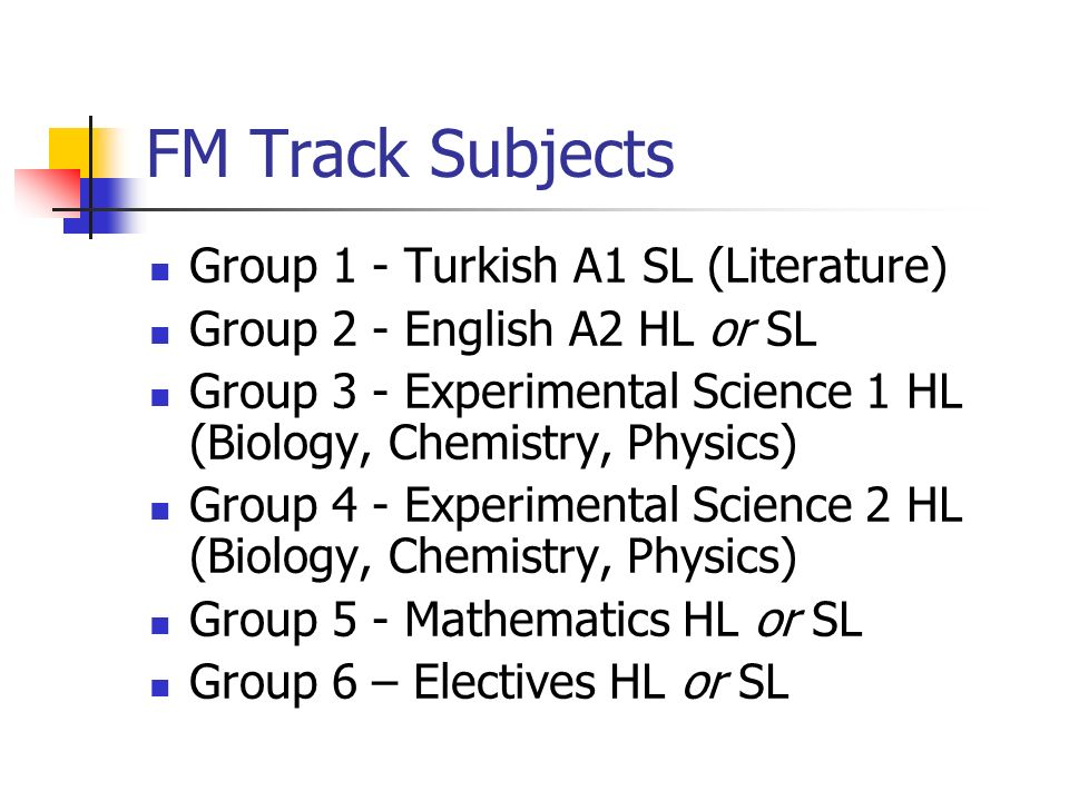 FM Track Subjects Group 1 - Turkish A1 SL (Literature)