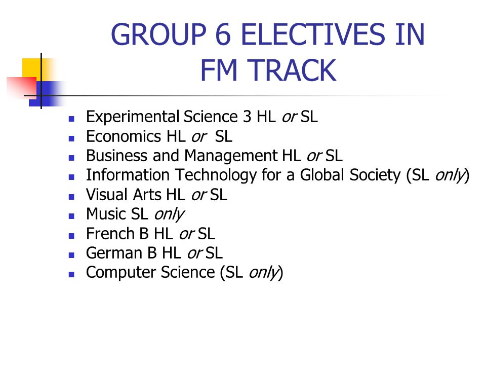 GROUP 6 ELECTIVES IN FM TRACK