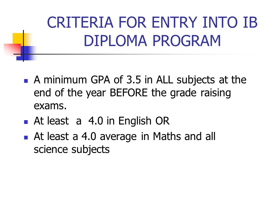 CRITERIA FOR ENTRY INTO IB DIPLOMA PROGRAM