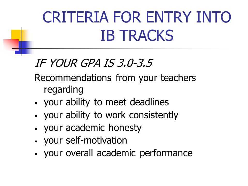 CRITERIA FOR ENTRY INTO IB TRACKS