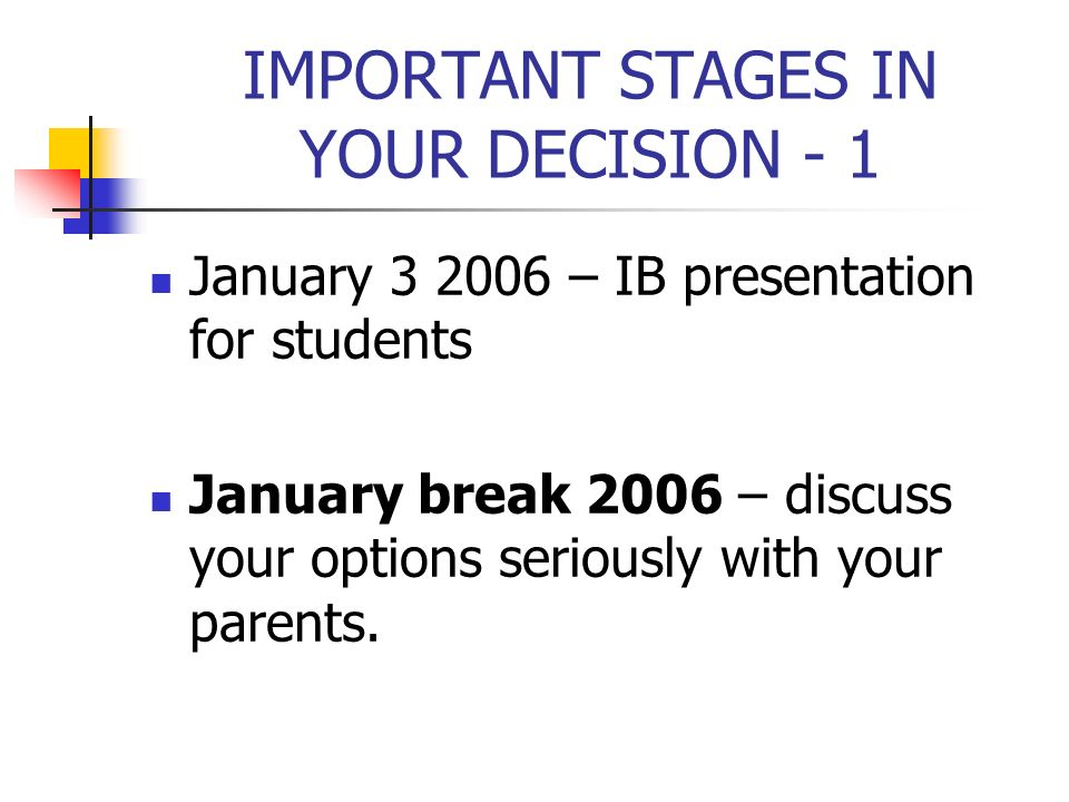 IMPORTANT STAGES IN YOUR DECISION - 1