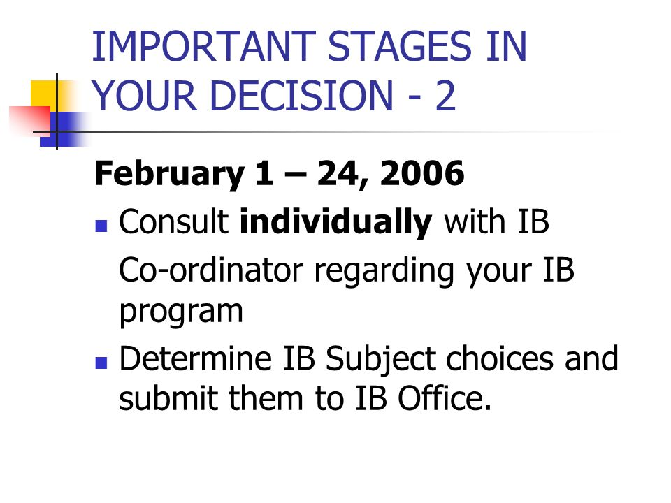 IMPORTANT STAGES IN YOUR DECISION - 2