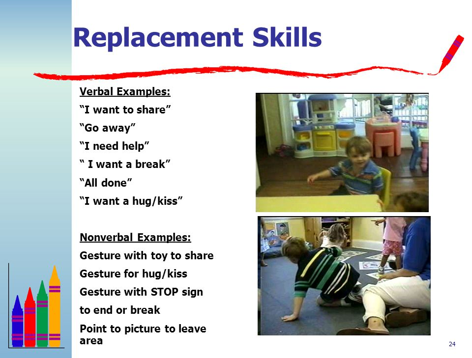 Replacement Skills Verbal Examples: I want to share Go away