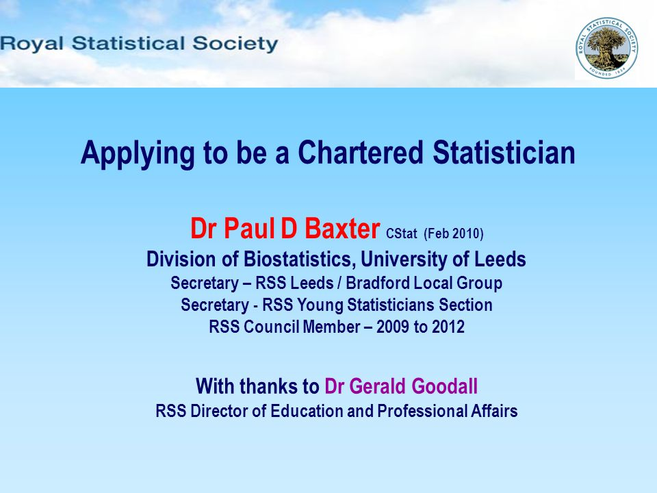 Applying to be a Chartered Statistician