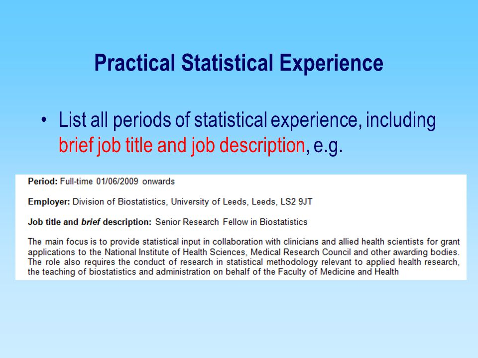 Practical Statistical Experience