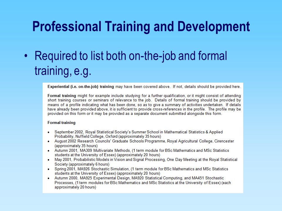 Professional Training and Development