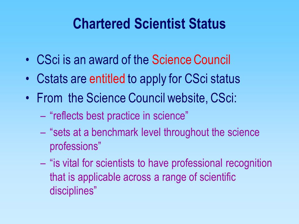 Chartered Scientist Status