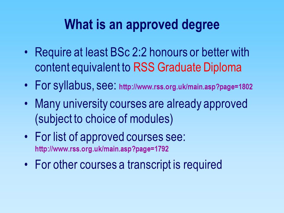 What is an approved degree