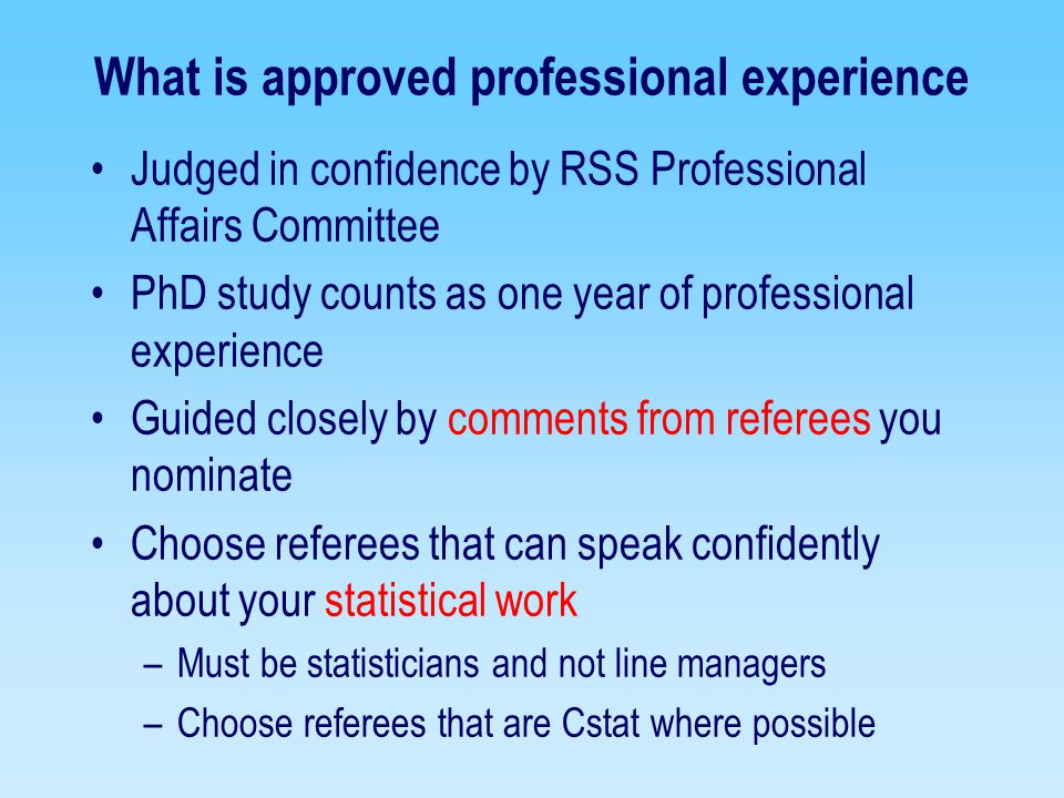 What is approved professional experience