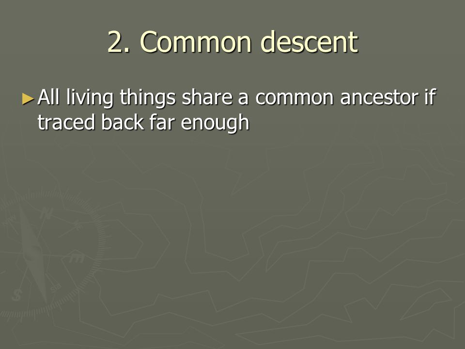 2. Common descent All living things share a common ancestor if traced back far enough