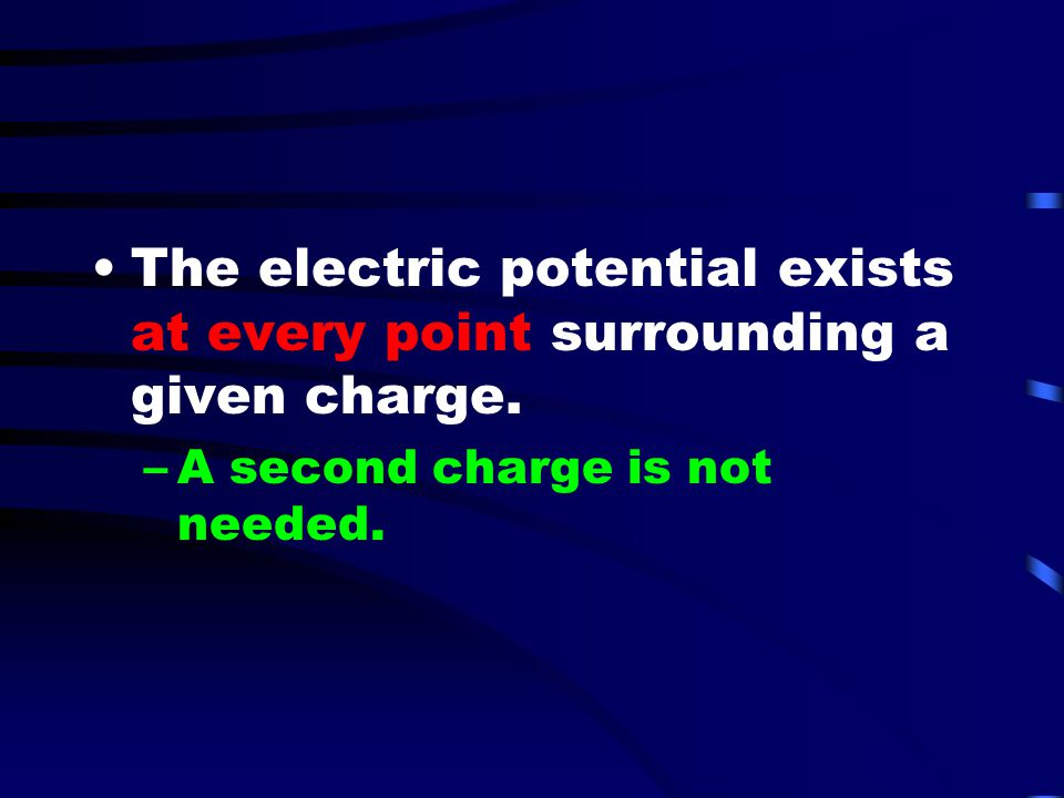 The electric potential exists at every point surrounding a given charge.