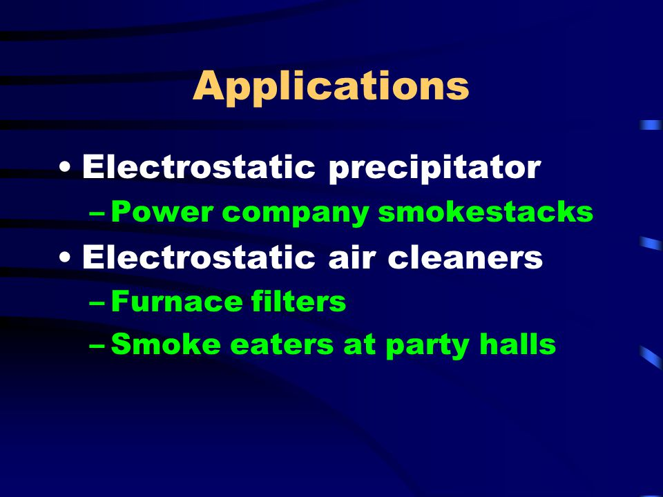 Applications Electrostatic precipitator Electrostatic air cleaners