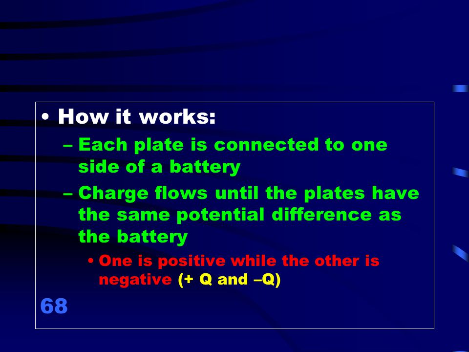 How it works: 68 Each plate is connected to one side of a battery