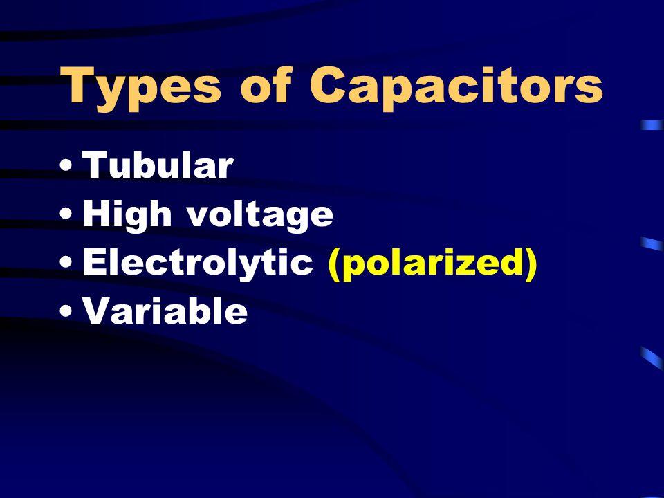Types of Capacitors Tubular High voltage Electrolytic (polarized)