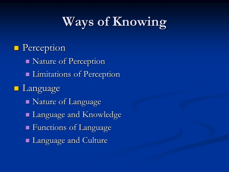 Ways of Knowing Perception Language Nature of Perception