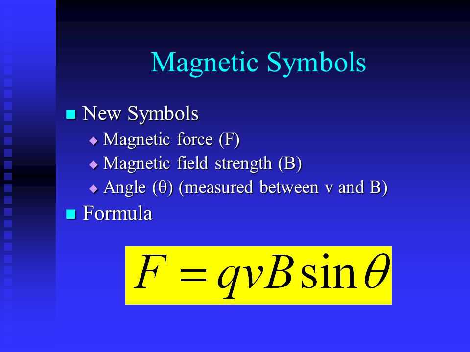 Magnetic Symbols New Symbols Formula Magnetic force (F)
