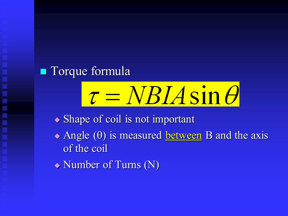 Torque formula Shape of coil is not important