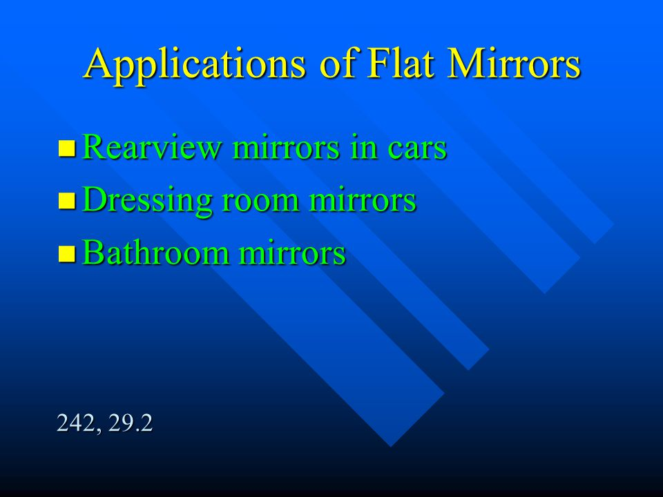 Applications of Flat Mirrors