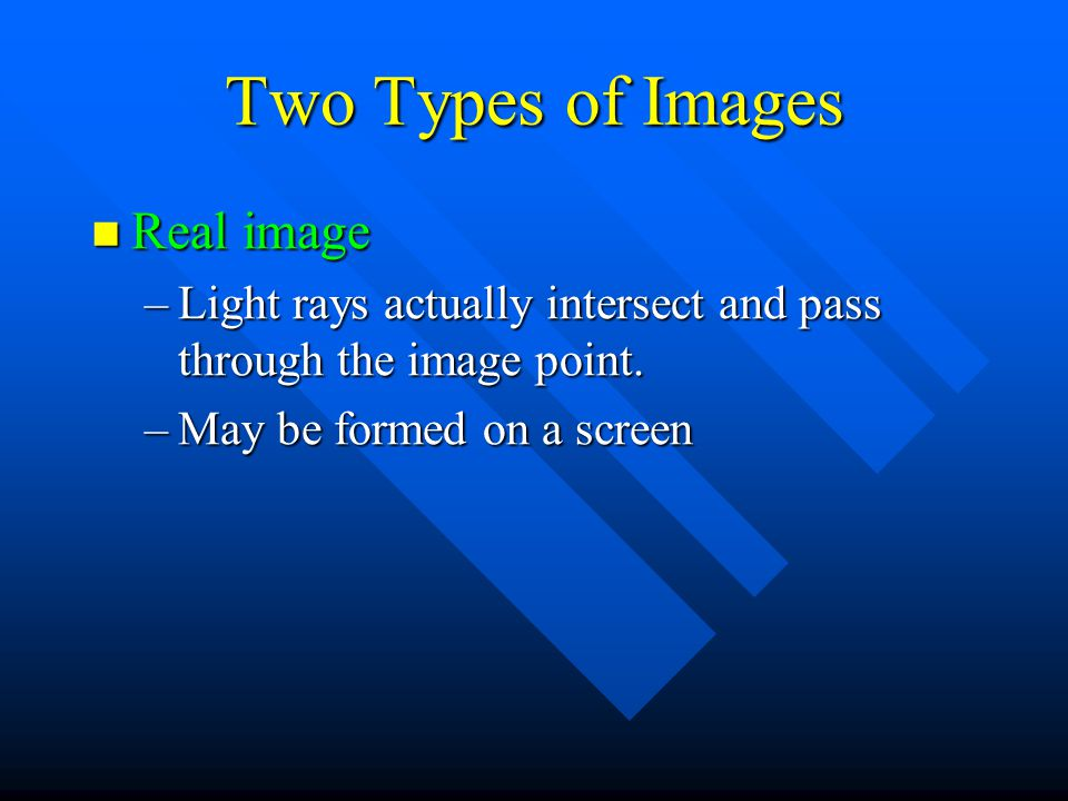 Two Types of Images Real image