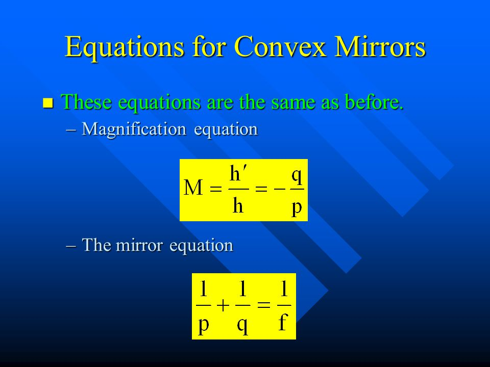 Equations for Convex Mirrors