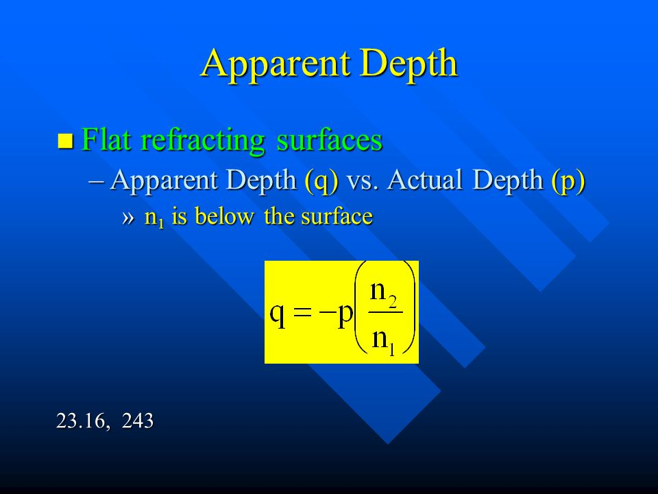 Apparent Depth Flat refracting surfaces
