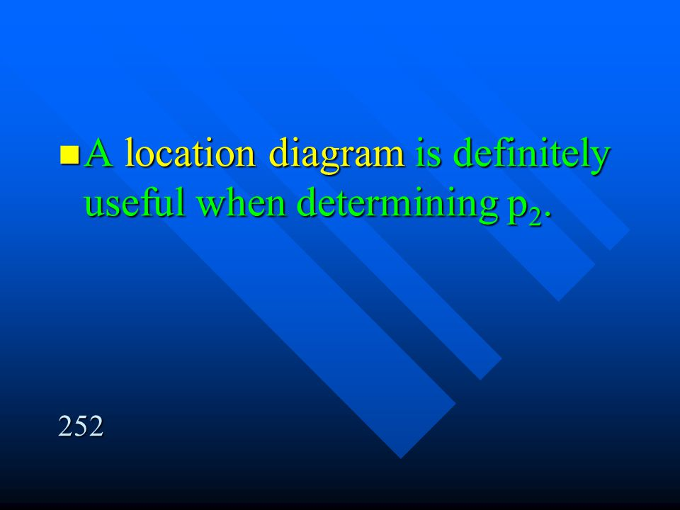 A location diagram is definitely useful when determining p2.